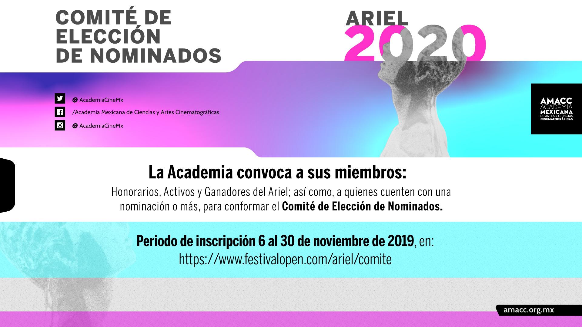 Inscríbete al Comité de Elección del Ariel 2020