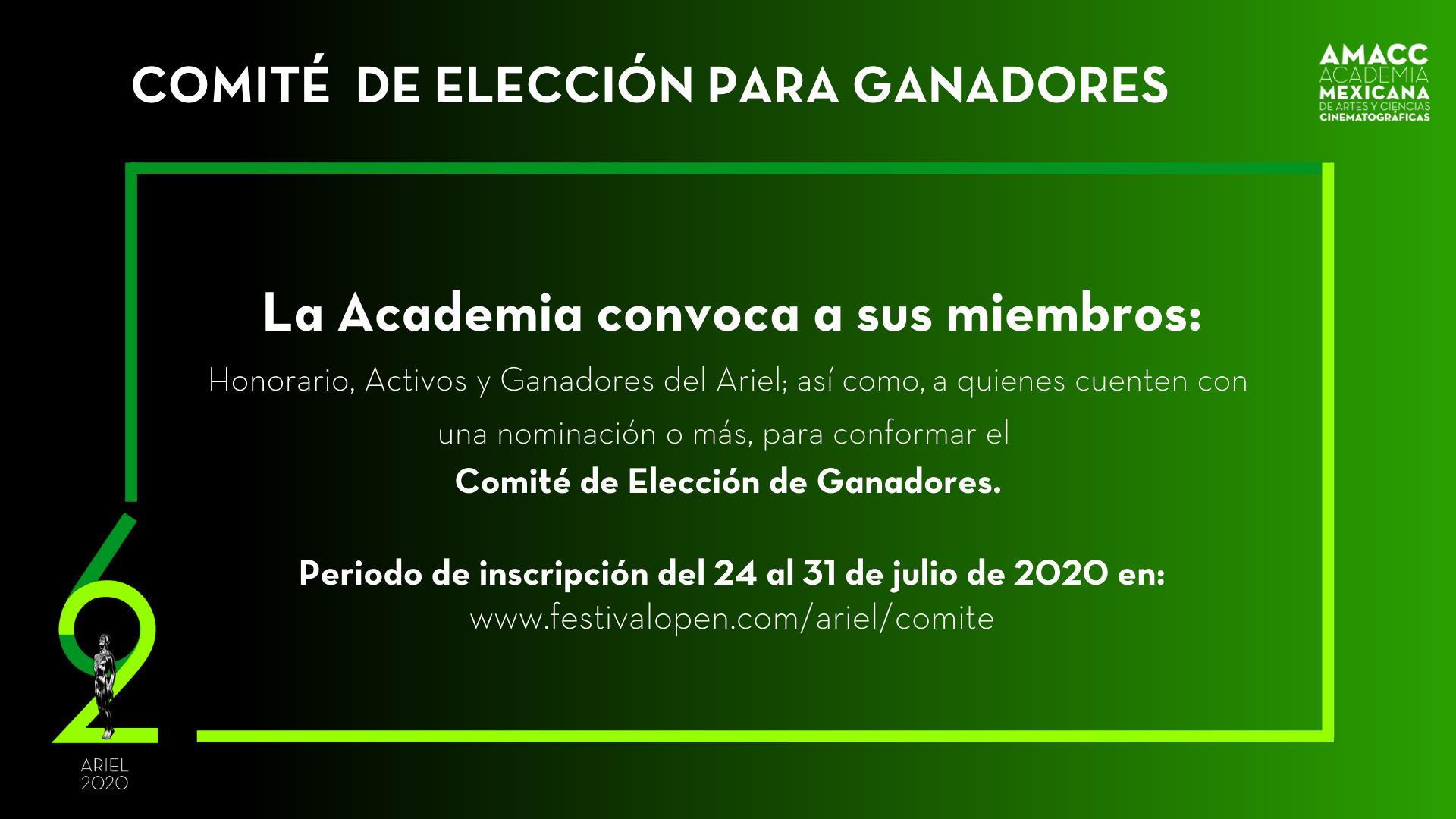 COMITÉ DE ELECCIÓN PARA GANADORES ARIEL 2020